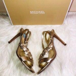 Michael Kors Tricia Metallic Sandals 10